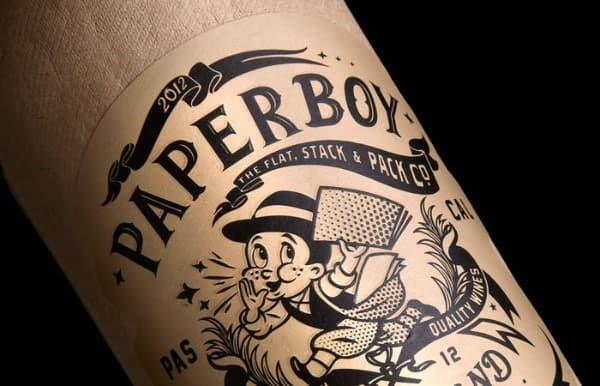 Une bouteille de vin en papier nommée «Paperboy»
