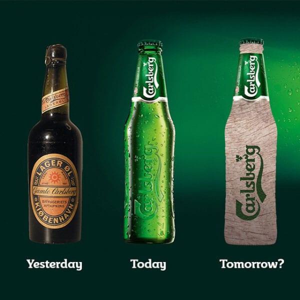 Evolution de la bouteille de bière Carlsberg