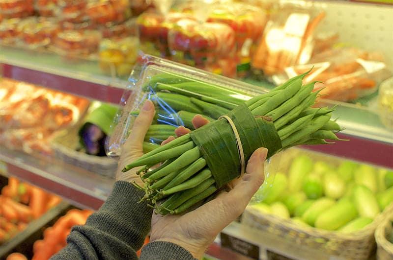 Emballage vert comme la feuille de bananier